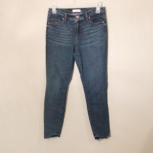 Loft   Mid Rise Skinny Raw Hem Jeans Sz 8